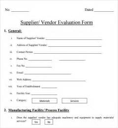 supplier form template supplier evaluation template 8 free documents