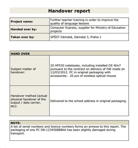 handover certificate template 6 handover report templates website