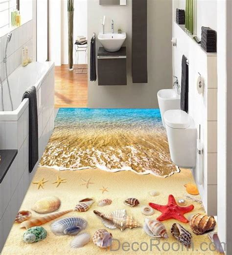 wave starfish colerful shell 00006 floor decals