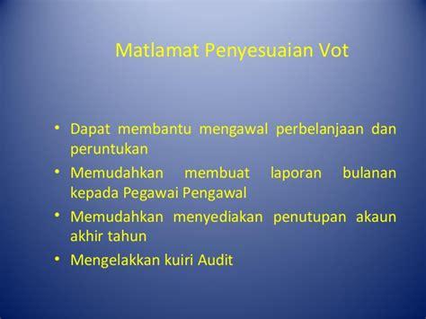 format penyata penyesuaian buku vot pengurusan penyesuaian vot
