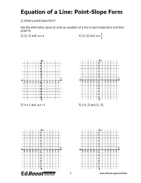 Point Slope Form Worksheet by Graphing Linear Equations Inequalities Edboost