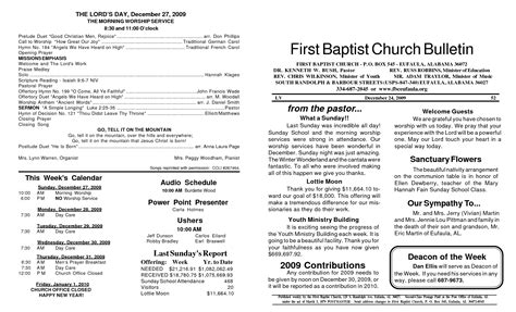 baptist church bulletin sle