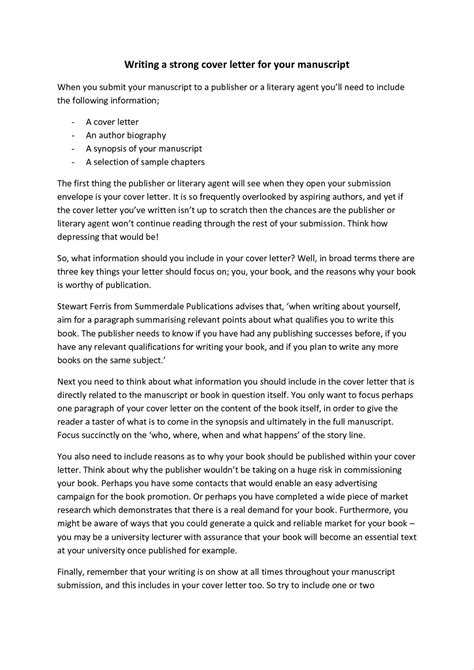 literary cover letter how to write a cover letter for a literary write