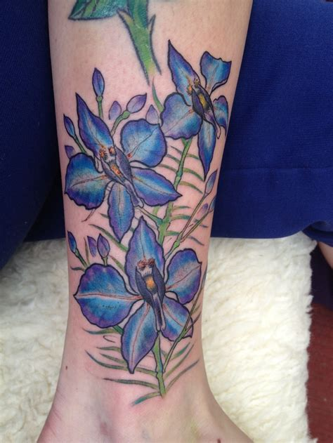 july flower tattoo larkspur larkspur july s flower second