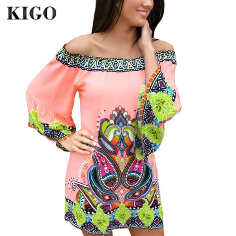 Tribal Boho Oby Dress 1 kigo summer dress 2016 casual slash neck casual dresses vestido vintage hippie bohemian dress