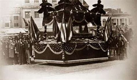 replica of lincoln s coffin on display in saratoga springs