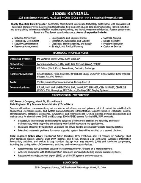 resume format for system engineer it engineering resume exle