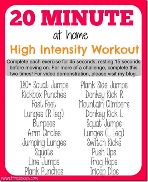 20 minute high intensity workout by at fit n cookies