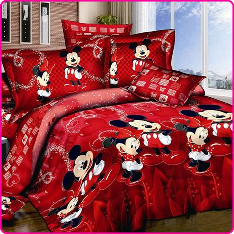 red mickey and minnie mouse king queen twin cartoon 4pcs