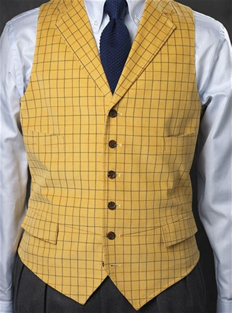 Home Furnishings Catalogs butter yellow corduroy waistcoat with tattersall check