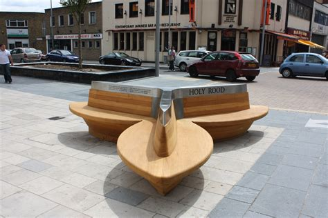 public benches trefoil seat woodscape street furniture