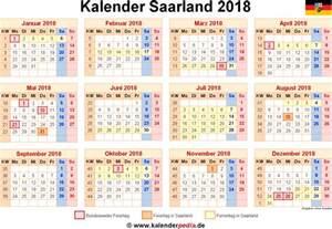 Kalender 2018 Feiertage Und Ferien Kalender 2018 Saarland Ferien Feiertage Excel Vorlagen