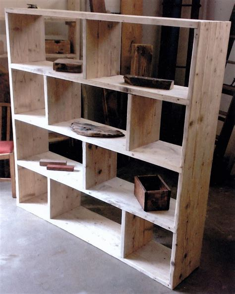 reclaimed wooden future rustic room divider shelving