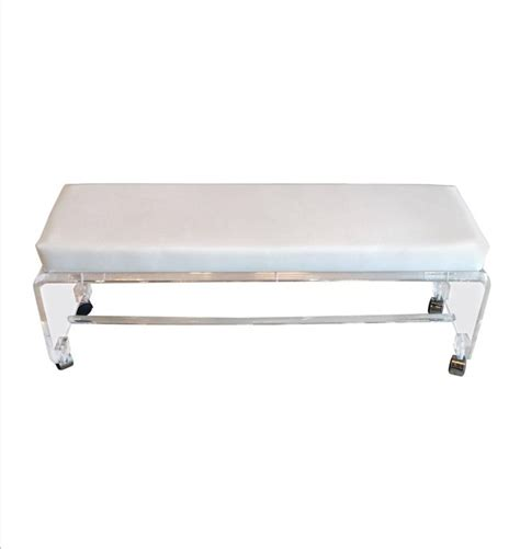 white bench seat lucite waterfall end of bed bench seat chair white leather