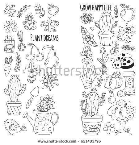 rubber boot names cute vector garden with birds cactus plants fruits