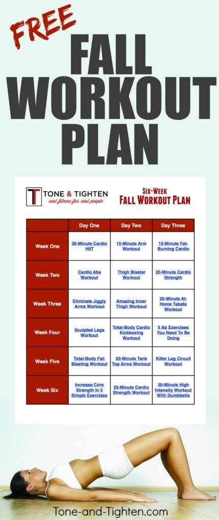 at home workout plans free 6 week fall workout plan tone and tighten