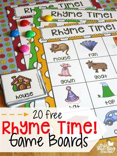 printable rhyming word games free rhyme time game boards free rhymes time games and