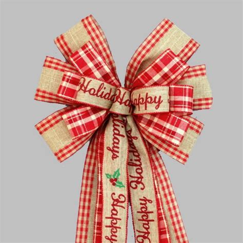 happy holiday tree ribbon happy holidays rustic burlap wreath bow 10 quot wide package bows