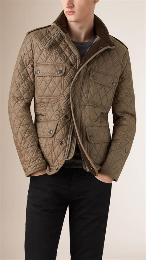 Lyst   Burberry Diamond Quilted Field Jacket in Natural