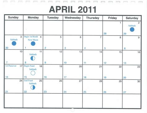 April 2009 Calendar April 2011 Lunar Calendar One Yahweh