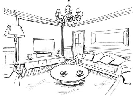 Living Room Interior Sketch Table by Graphical Sketch Of An Interior Living Room Stock Photo