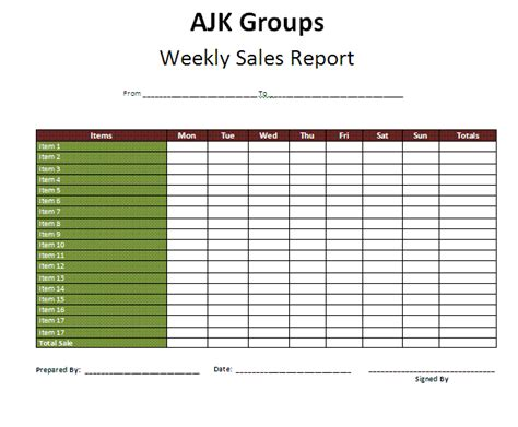 weekly report template weekly report free reports