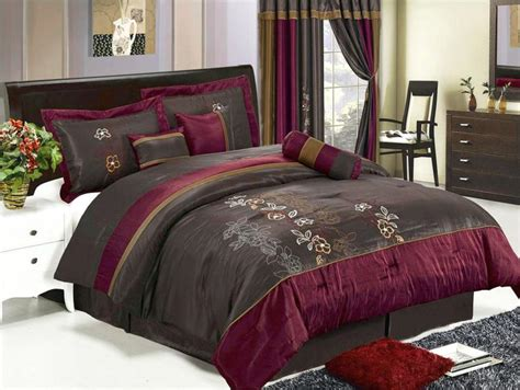 brown and burgundy comforter set 7 pcs luxury embroidery floral comforter set bed in a bag