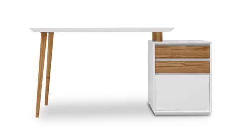 Bureau blanc mat Svartan avec caisson 3 tiroirs   Mobilier