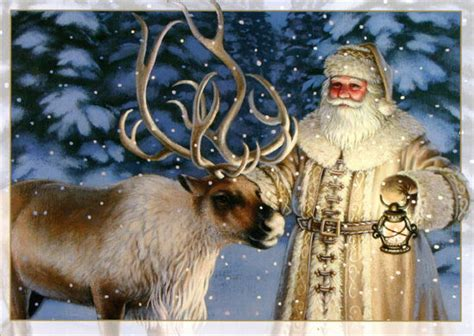 fashioned santa  reindeer  boxed christmas cards  lpg  ebay