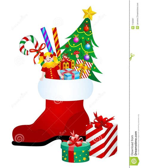 christmas boot with gifts stock vector image of candy