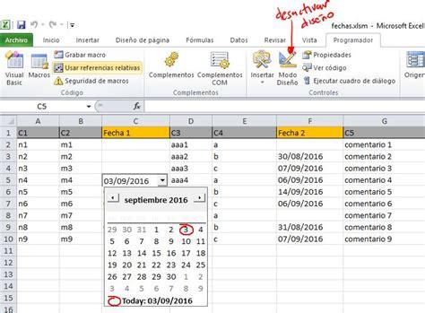 crear calendario en excel excel introducir fechas con desplegable calendario