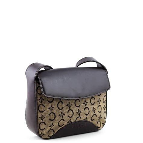 celine brown monogram canvas vintage shoulder bag