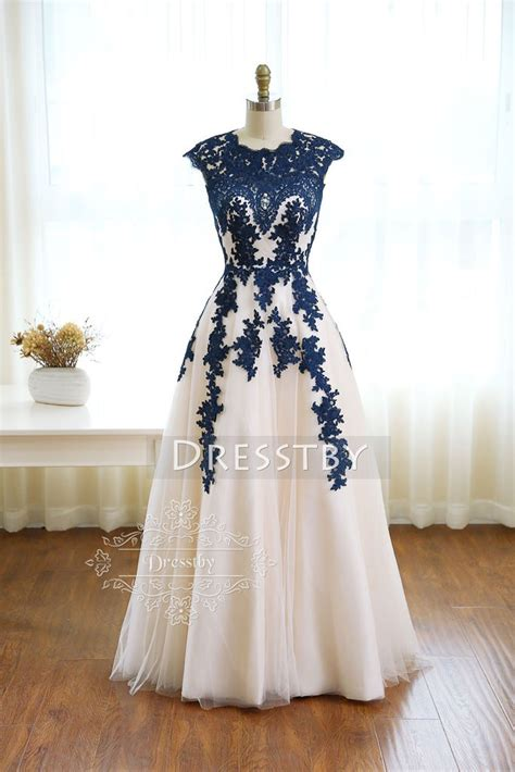 prom dresses on pinterest lace gowns prom and sequin dress dark blue round neck tulle lace long prom dress