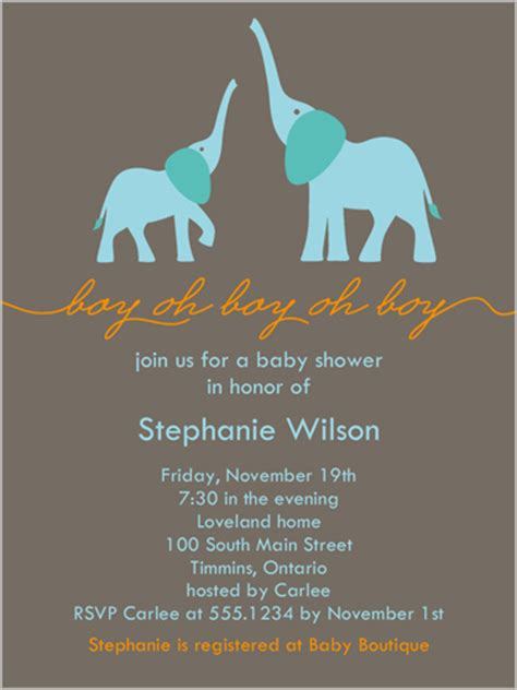 Do Go To Baby Showers by Elefun Baby Boy 4x5 Stationery Baby Shower Invitations