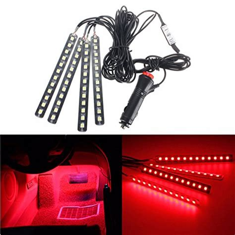 Audew 4 Piece Led Car Atmosphere Light Strips 6 Color Led Car Interior Led Light Strips