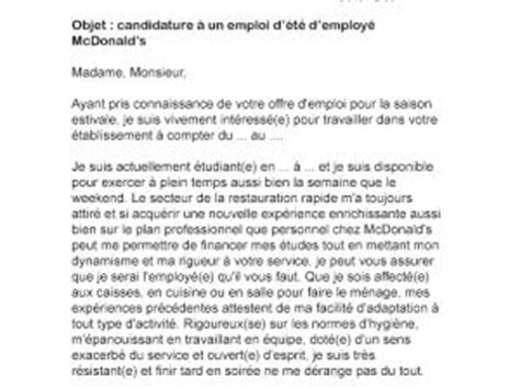 Lettre De Motivation Travail De Week End Lettre De Motivation D 233 T 233 Mcdo Par Lettreutile