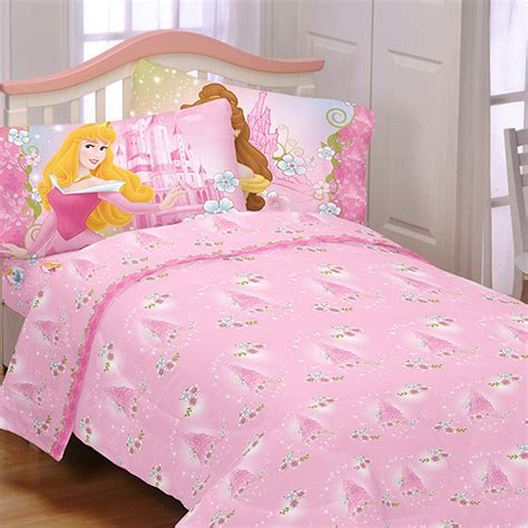 girls disney princess castle flower pink twin size bedding