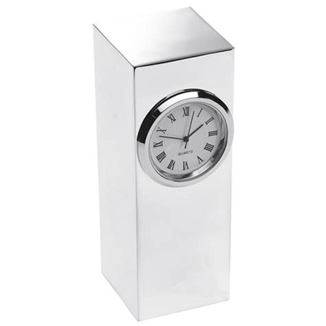 engraved silver plated tower desk clock business gifts