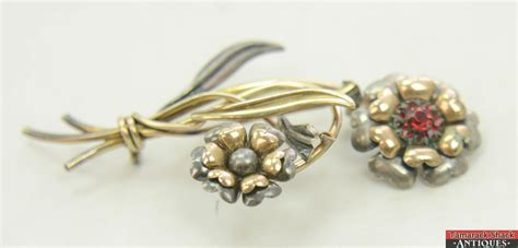 gold and silver ls vintage ls co silver 800 gold 12k brooch pin flower