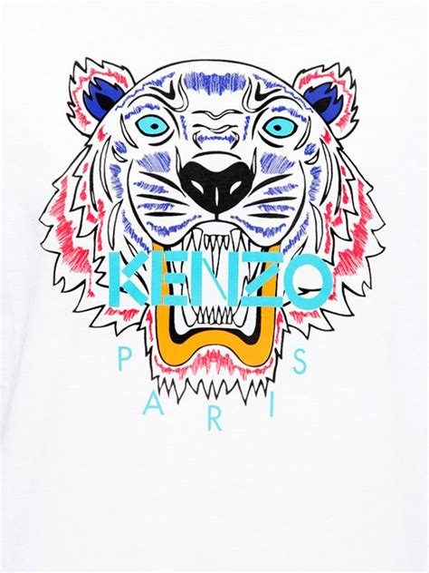 Kenzo Tiger kenzo tiger printed cotton jersey tshirt in white for