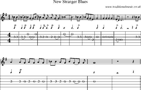 new blues songs guitar tab and sheet music for new stranger blues