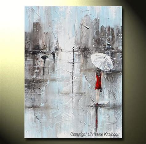 Black Home Decor by Giclee Print Art Abstract Painting Red Umbrella Grey
