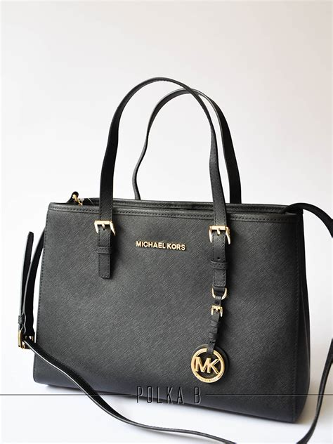 Tas Michael Kors Original Mk Jetset Zip Tote Large Pear michael kors jet set travel saffiano leather medium tote black polka b authentic luxury