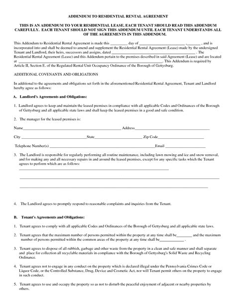 printable lease agreement template standard residential lease agreement template sle