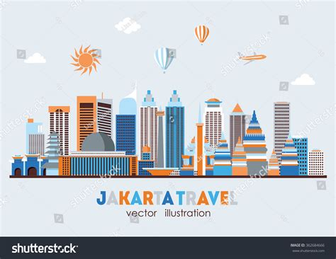 indonesia detailed skyline vector illustration stock jakarta detailed skyline vector illustration stock vector