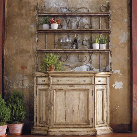Kitchen Bakers Rack Cabinets Furniture Wakefield Three Door Three Drawer Distressed Buffet With Decorative Metal Hutch