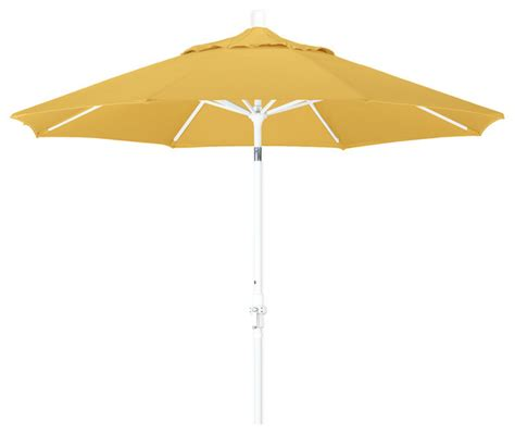 Olefin Patio Umbrella 9 Foot Olefin Fabric Aluminum Crank Lift Collar Tilt Patio Umbrella White Pole Contemporary