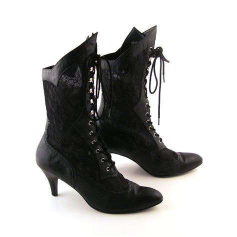 reserved black lace boots vintage boots 1980s high heel lace