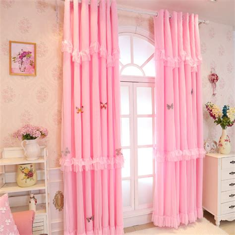 baby girl bedroom curtains pink white lace blackout curtains for living room luxury