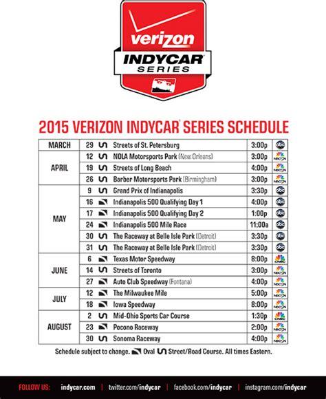 Calendario F Indy 2015 Print The 2015 Verizon Indycar Series Schedule